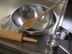 stainless steel countertop and baking utensils
