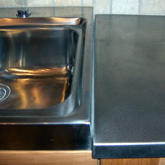 stainless steel countertop and sink