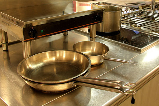 stainless steel countertops in a restaurant kitchen