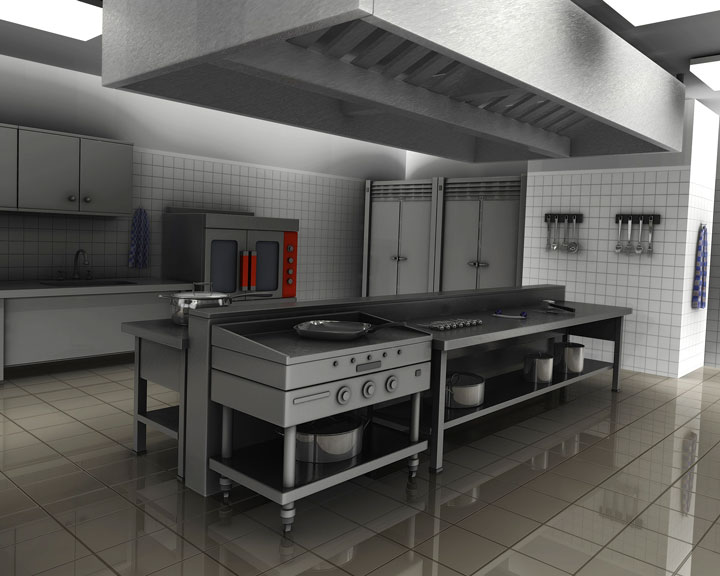 Stainless Steel Countertops In A Commercial Kitchen